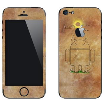 Виниловая наклейка «Эмблема Андроид на бумаге» на телефон Apple iPhone 5