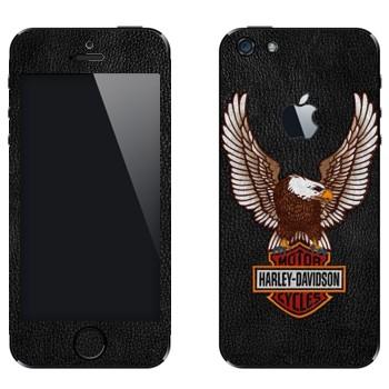 Виниловая наклейка «Harley-Davidson Motor Cycles» на телефон Apple iPhone 5