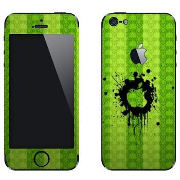 Виниловая наклейка «Лого Apple на зеленой стене» на телефон Apple iPhone 5