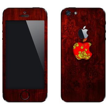 Виниловая наклейка «Логотип Apple хохломой» на телефон Apple iPhone 5