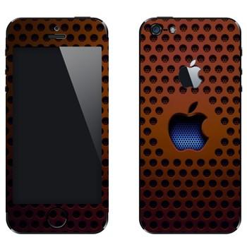 Виниловая наклейка «Логотип Apple на коричневой сетке» на телефон Apple iPhone 5