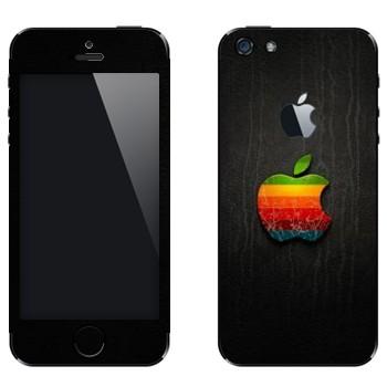 Виниловая наклейка «Логотип Apple радужное яблоко» на телефон Apple iPhone 5