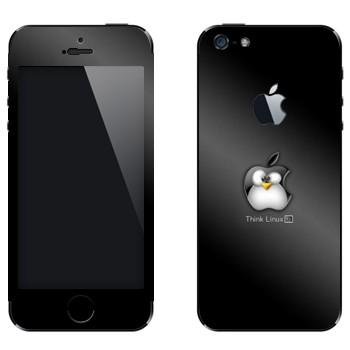Виниловая наклейка «Пингвин Linux как логотип Apple» на телефон Apple iPhone 5