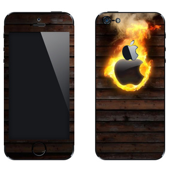 Виниловая наклейка «Пылающий логотип Apple» на телефон Apple iPhone 5
