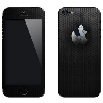 Виниловая наклейка «Стальной логотип Apple» на телефон Apple iPhone 5