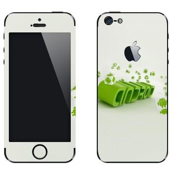 Виниловая наклейка «Зеленая надпись Android» на телефон Apple iPhone 5