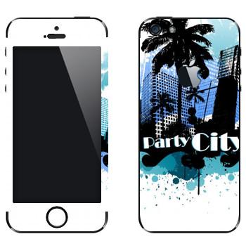 Виниловая наклейка «Майами - город вечеринок» на телефон Apple iPhone 5