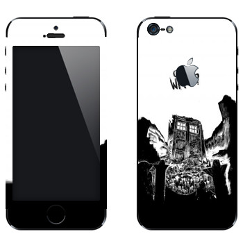 Виниловая наклейка «Police box - Doctor Who» на телефон Apple iPhone 5