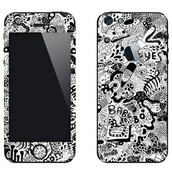 Виниловая наклейка «WorldMix черно-белый» на телефон Apple iPhone 5