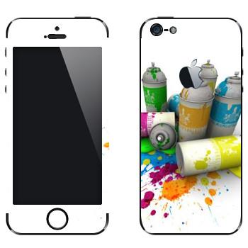 Виниловая наклейка «Баллончики с краской» на телефон Apple iPhone 5