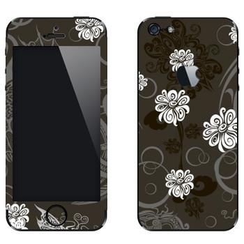Виниловая наклейка «Белые цветы на сером фоне» на телефон Apple iPhone 5