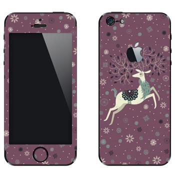 Виниловая наклейка «Белый олень» на телефон Apple iPhone 5