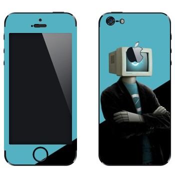 Виниловая наклейка «Человек-компьютер» на телефон Apple iPhone 5