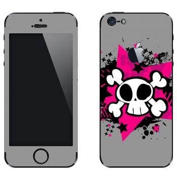 Виниловая наклейка «Череп - Эмо» на телефон Apple iPhone 5