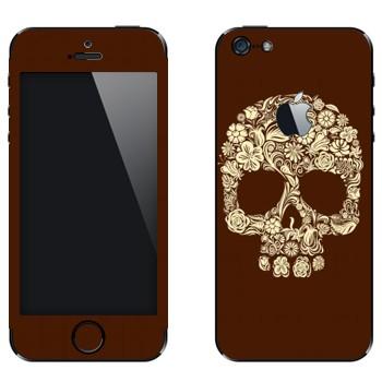 Виниловая наклейка «Череп цветами» на телефон Apple iPhone 5