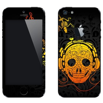 Виниловая наклейка «Череп в наушниках» на телефон Apple iPhone 5