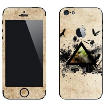 Виниловая наклейка «Черный треугольник и деревья с птицами» на телефон Apple iPhone 5
