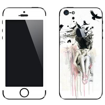 Виниловая наклейка «Девушка на крыше» на телефон Apple iPhone 5