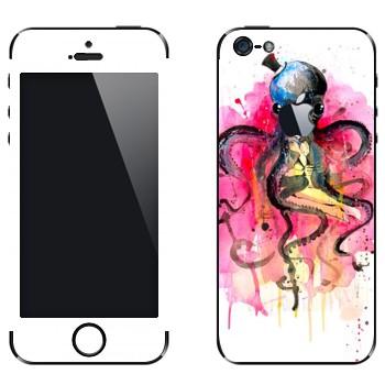 Виниловая наклейка «Девушка в объятьях осьминога» на телефон Apple iPhone 5