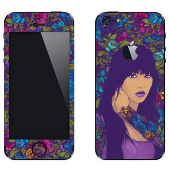 Виниловая наклейка «Девушка в цветах» на телефон Apple iPhone 5