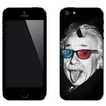 Виниловая наклейка «Эйнштейн в разноцветных очках» на телефон Apple iPhone 5