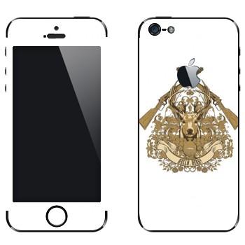 Виниловая наклейка «Голова оленя и ружья» на телефон Apple iPhone 5