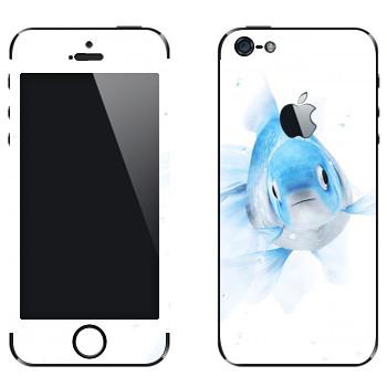 Виниловая наклейка «Голубая рыбка» на телефон Apple iPhone 5