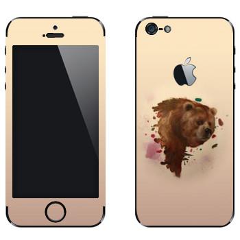 Виниловая наклейка «Гризли - Kisung» на телефон Apple iPhone 5