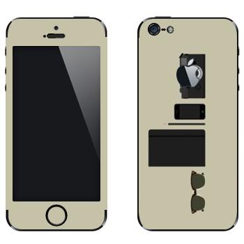 Виниловая наклейка «Хипстерский набор» на телефон Apple iPhone 5