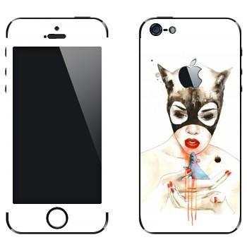 Виниловая наклейка «Женщина-кошка» на телефон Apple iPhone 5