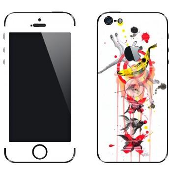 Виниловая наклейка «Кот и рыбка» на телефон Apple iPhone 5