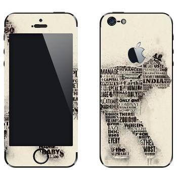 Виниловая наклейка «Кот из газетных заголовков» на телефон Apple iPhone 5