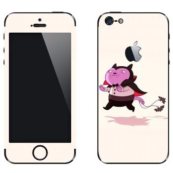 Виниловая наклейка «Кот-вампир» на телефон Apple iPhone 5