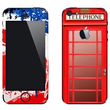 Виниловая наклейка «Красная телефонная будка» на телефон Apple iPhone 5