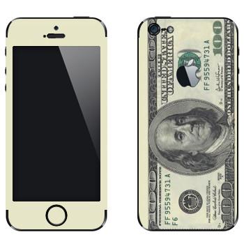 Виниловая наклейка «Купюра сто долларов» на телефон Apple iPhone 5
