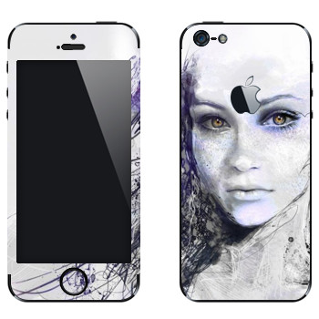 Виниловая наклейка «Лицо девушки» на телефон Apple iPhone 5