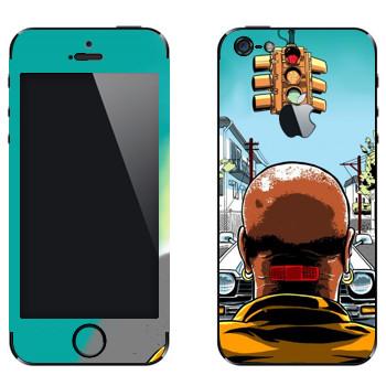 Виниловая наклейка «Лысый мужик с пластырем на шее» на телефон Apple iPhone 5