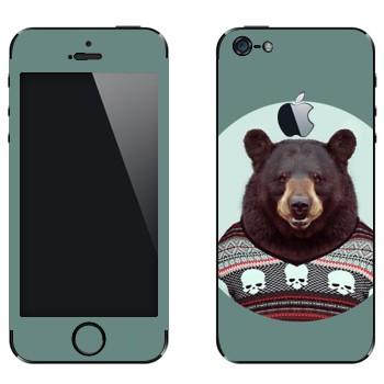 Виниловая наклейка «Медведь в свитере» на телефон Apple iPhone 5