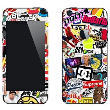 Виниловая наклейка «Множество стикеров» на телефон Apple iPhone 5