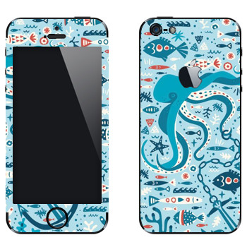 Виниловая наклейка «Морская жизнь» на телефон Apple iPhone 5