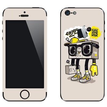 Виниловая наклейка «Оживший бумбокс» на телефон Apple iPhone 5