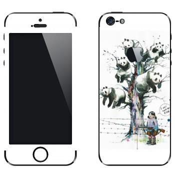 Виниловая наклейка «Панды на дереве» на телефон Apple iPhone 5