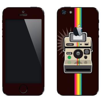 Виниловая наклейка «Полароид и радуга» на телефон Apple iPhone 5