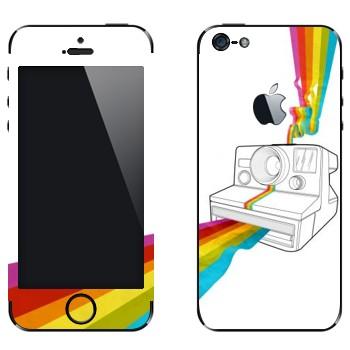 Виниловая наклейка «Полароид печатает радугу» на телефон Apple iPhone 5