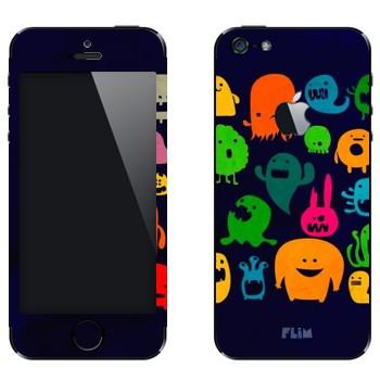 Виниловая наклейка «Разноцветные монстрики» на телефон Apple iPhone 5