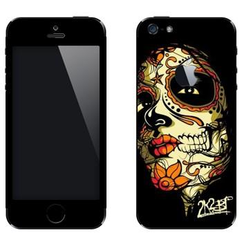 Виниловая наклейка «Разрисованное лицо девушки - Боди-арт» на телефон Apple iPhone 5