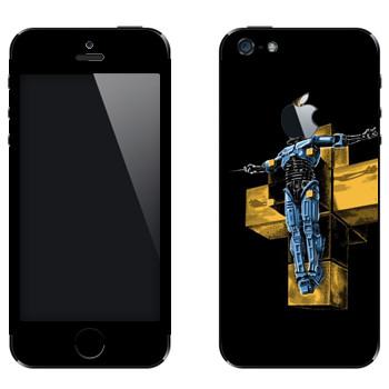 Виниловая наклейка «Робокоп на кресте» на телефон Apple iPhone 5