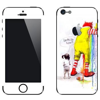 Виниловая наклейка «Рональд МакДональд блюёт» на телефон Apple iPhone 5