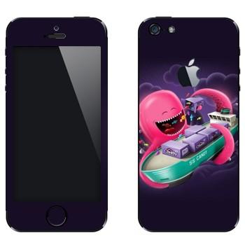 Виниловая наклейка «Розовый осьминог и танкер» на телефон Apple iPhone 5