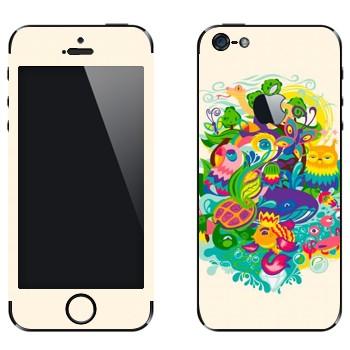 Виниловая наклейка «Сказочные зверюшки» на телефон Apple iPhone 5